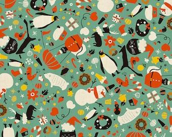 Waku Waku Christmas Mixer Aqua Unbleached Cotton Waku Waku Christmas Cotton & Steel Fabrics