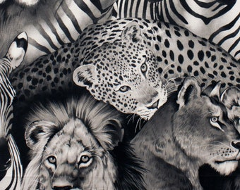 Lion Eyes Black & White Collection By Alexander Henry Sold By Half Yard