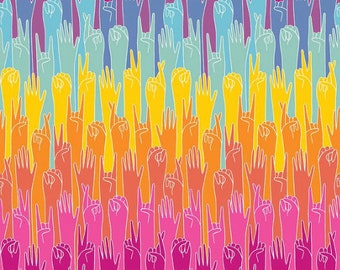 Grl Pwr Put Your Hands Up Multi By Riley Blake Fabric Sold By Half Yard
