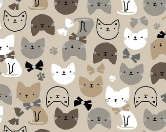 Fat Quarter Cubby Bear Flannel Cats By Windham Fabric