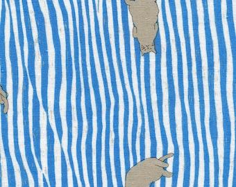 Kotori Nuno Neko Stripe Blue By Kokka Japan, Cat Fabric