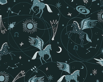 Fat Quarter Mystical Astro Pegasus Teal By Cotton And Steel, Pegasus, Horses