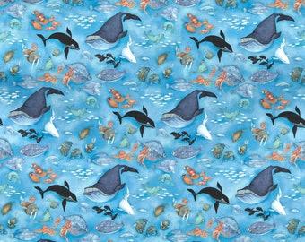 "14"" x 44""  Arctic Wonders Arctic Sea Life Blue Multi By Northcott Fabrics"