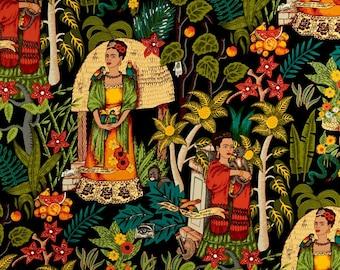 Frida's Garden Black Folklorico Collection By Alexander Henry Fabrics, Frida, Artist