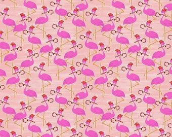 "10""x10""  Flamingo Christmas Flamingos Pink By Paintbrush Studio Fabrics"