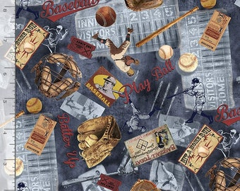 Fat Quarters Grand Slam Collection Baseball Navy By Timeless Treasures