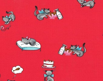 Fat Quarter Tabby Teasers Strawberry What's Cooking Collection By Michael Miller Fabrics Sold By Half Yard