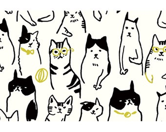 Cats Cotton/Linen Canvas By Cosmo Sold By Half Yard
