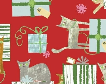 Fat Quarter Make Merry Gift Wrapped Cats Red By Maria Carluccio For Windham
