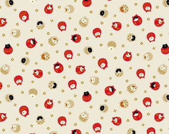 """30"""" x 44"""" Coneco Metallic Round Cat Toss Cream By Quilt Gate Japan.   With a beautiful touch of metallic gold."""