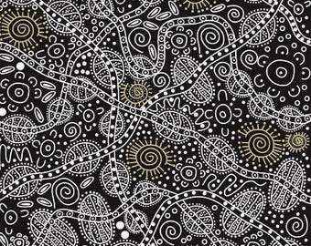 Bush Tucker Black by June Smith For M & S Textiles Australia, Aboriginal, Indigenous
