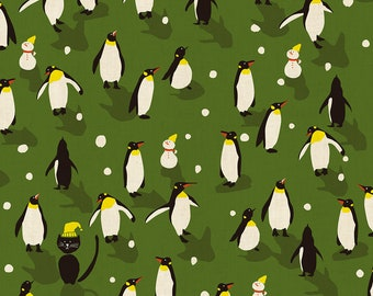 "10""x10""  Penguin Dance Green Unbleached Cotton Waku Waku Christmas Cotton & Steel Fabrics"