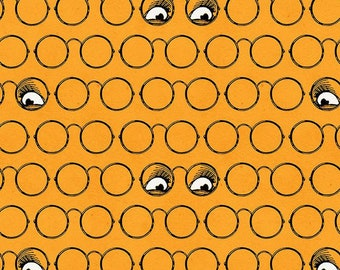 Fat Quarter Goose Tales Spooky Specs Orange By Riley Blake Fabrics,  Halloween, Skeleton
