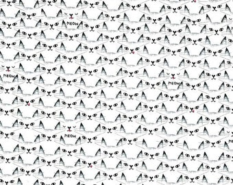 Fat Quarter Cat Clique Black And White Collection By Michael Miller Fabrics Sold By Half Yard
