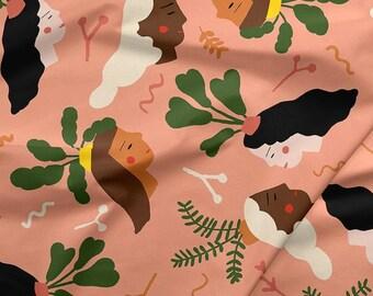 Green Thumb Girls Coral By Carolyn Suzuki For Paintbrush Studio Fabrics