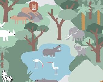 Call Of The Wild Safari Multi Dear Stella Fabrics, Elephants