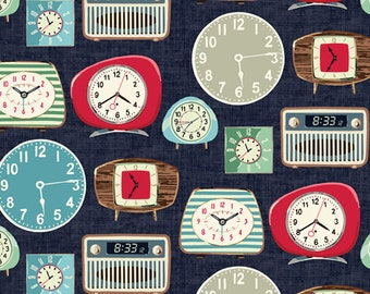 Fat Quarter Retro Clocks From The One Of A Kind Collection By Windham Fabrics