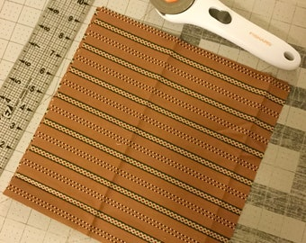 """Two 10"""" x 10"""" Brown Stripes Fabric"""