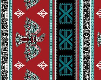 1/2 Yard Red Northwest Stripe Legend by Whistler Studios Windham Fabrics, Pacific Northwest
