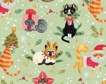 Fat Quarter Not Ameowsed Cats Christmas By Dear Stella