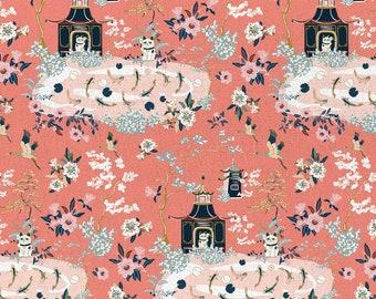 Imperial Garden Lucky Cat Shrine Garden Coral Designed Teresa Chan By Paintbrush Studio Fabrics