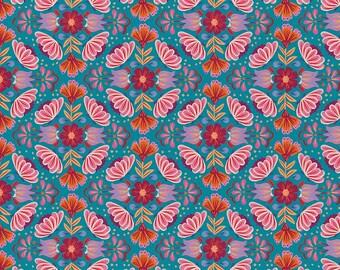 Viva Mexico! Floral Blue By Deborah Curiel For Paintbrush Studio Fabrics