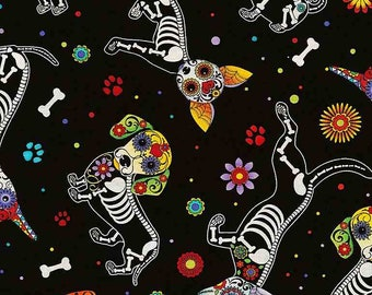 """11""""x39""""   Sugar Skulls Day Of The Dead Dogs Black By Timeless Treasures"""