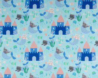 """15""""x42""""  Mermaid Kitties Aqua Mercats For Northcott Fabrics, Cat Lover, Cat Lady"""