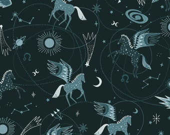 Mystical Astro Pegasus Teal By Cotton And Steel, Pegasus, Horses