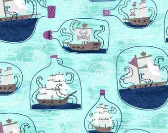 Kraken Ship in a Bottle Sea Glass Fabric By RJR Fabric
