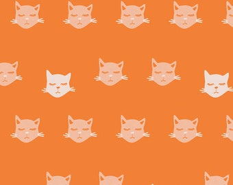Fat Quarter Cat Nap Orange Oh Meow! Collection By Art Gallery Fabrics