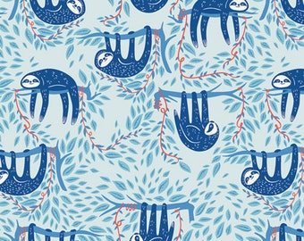 Fat Quarter Swaying Sloths Sky Selva Collection By Art Gallery Fabrics