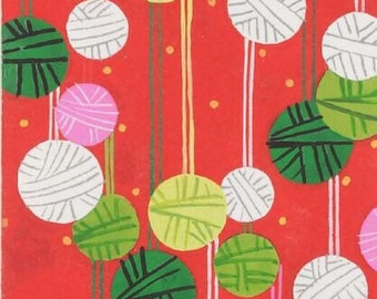 Fat Quarter Kristmas On A String Red By Alexander Henry Fabrics, Christmas Cats, Holiday, Balls Of Yarn, Cats