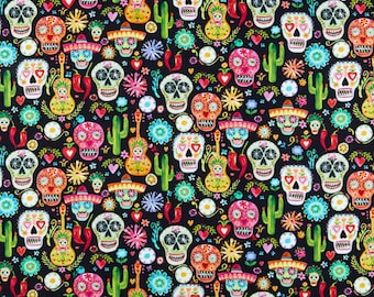 "Halloween Day Of The Dead fabric Fat Eighth 9/""x21.5/"" Catrina 100/% cotton"
