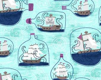 Fat Quarter Kraken Ship in a Bottle Sea Glass Fabric By RJR Fabric