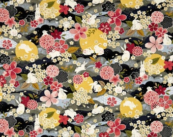 The Moon Rabbit Oriental Floral Gray By Paintbrush Studio Fabrics