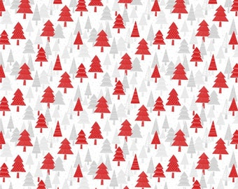 Polar Hugs Christmas Trees Red By Northcott Fabrics, Winter, Holidays