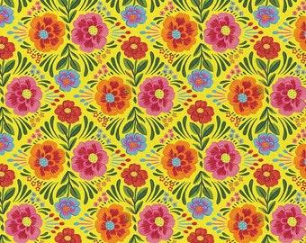 Viva Mexico! Floral Yellow By Deborah Curiel For Paintbrush Studio Fabrics