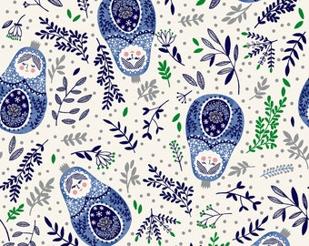 Winter Dreams  Babushka Dolls Royal Blue Metallic By RJR Fabric
