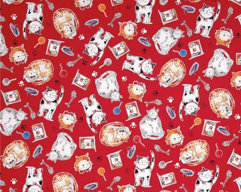 Cat Red Take Me Home by Whistler Studios For Windham Fabrics, Cat Lady Cat Lover Rescue Adopt Fabric