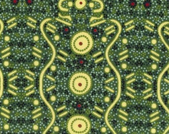 Fat Quarter Water Dreaming Green by Audrey Martin Napanangka For M & S Textiles Australia, Aboriginal, Indigenous
