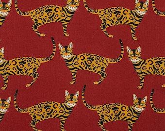 "14"" x 42"" Little Kenya Cats Rust By Alexander Henry Fabrics, Cat Fabric Precut"