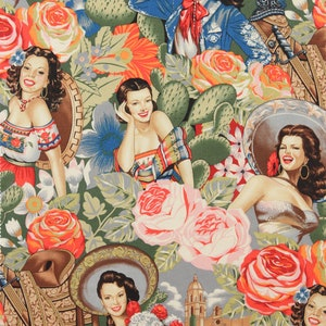 27 Inches only End of Bolt Fabric Alexander Henry Las Senoritas Mexican fashionistas pinupsrosescactussaddlesbright colors 6542AR