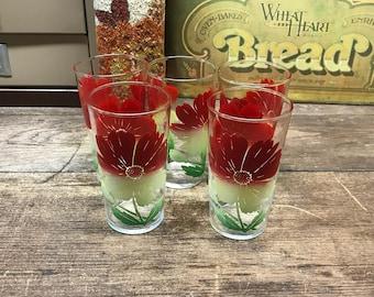 Vintage Glasses Juice Glasses Set of 5Tumbler Red Green White Floral