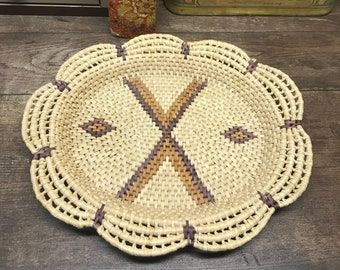 Vintage Straw Basket/Wall Decor/Table Decor Natural