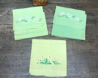 Vintage Hand Towels Hankies Napkins Greens and Yellow