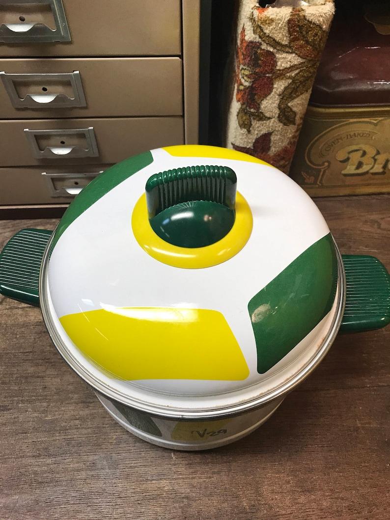 Vintage Steamer Pot Green Yellow Retro