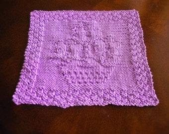 Cotton Hand Knit Purple Flowerpot Dish Cloth or Wash Cloth