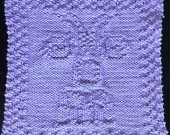 Hand Knit Lilac Cotton Mom Dish Cloth or Wash Cloth