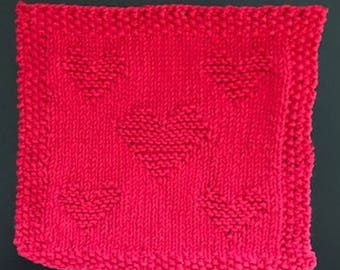 Ruby Red Hand Knit Valentine's Day Hearts Dish Cloth or Wash Cloth